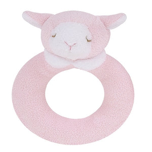 Angel Dear - Ring Rattle - Pink Lamb