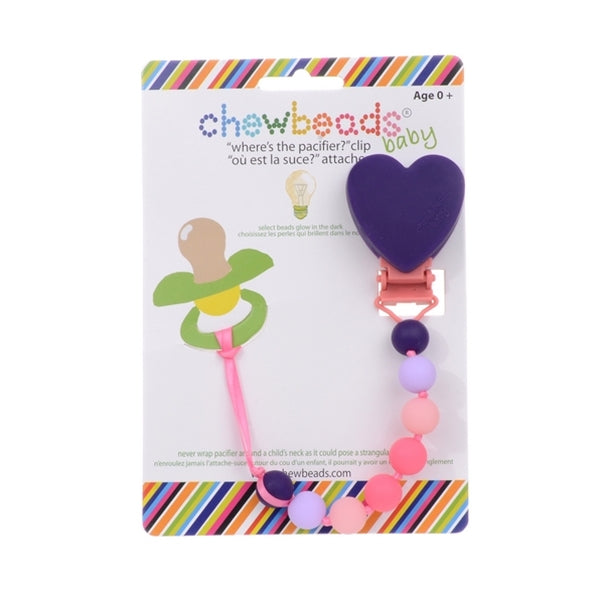 Chewbeads - Wheres the Pacifier Clip -Heart