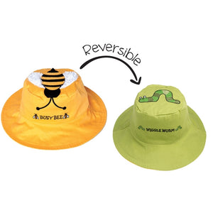 FlapJackKids - Reversible Sun Hat - Bee/Worm