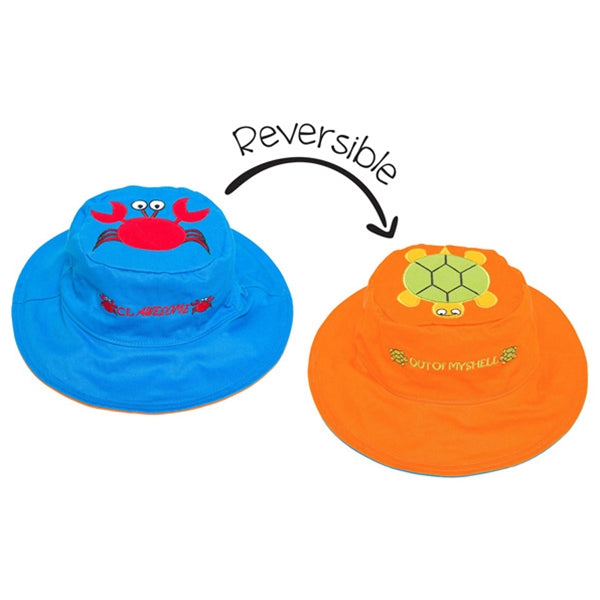 FlapJackKids - Reversible Sun Hat - Crab/Turtle
