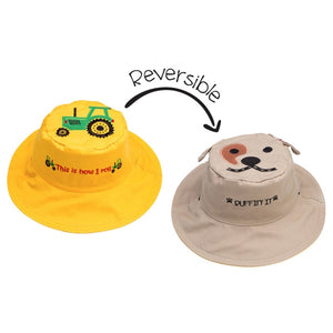 FlapJackKids - Reversible Sun Hat - Tractor/Dog