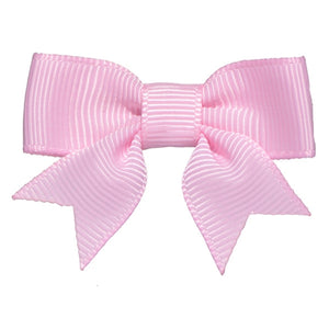 No Slippy Hair Clippy - Emily  Pink/Pearl 2 Inch Grosgrain Baby Bow Pinch Clip