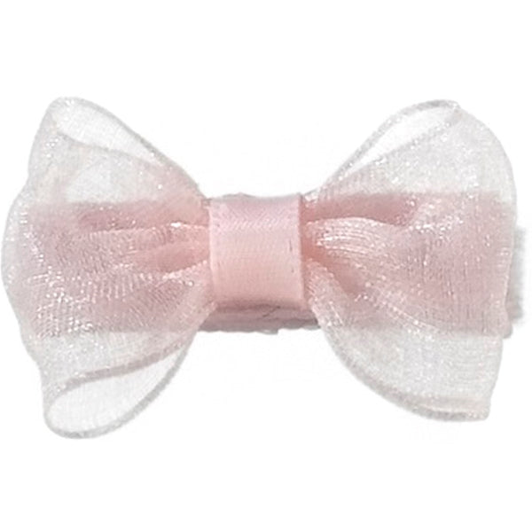 No Slippy Hair Clippy - Zoey  Pale Pink 1-1/2 Inch Organza Baby Bowmini Clip