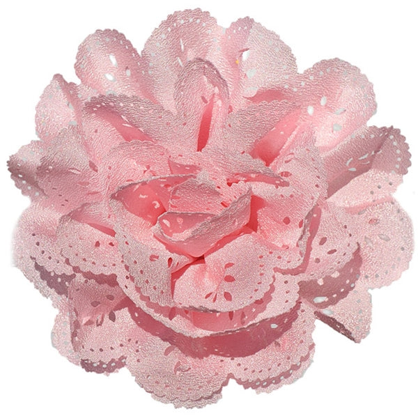 No Slippy Hair Clippy - Emerson  Bubblegum 3-1/2 Eyelet Flower Pinch Clip