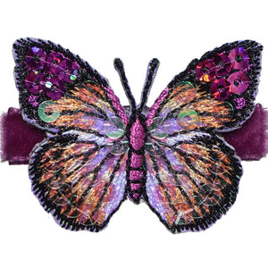 No Slippy Hair Clippy - Blake  Amethyst Glitter Butterfly Pinch Clip