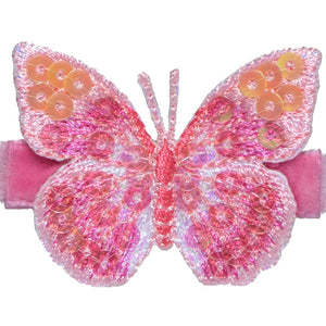 No Slippy Hair Clippy - Blake  Shocking Pink Glitter Butterfly Pinch Clip