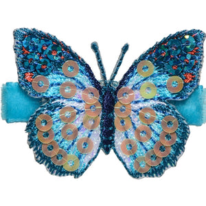 No Slippy Hair Clippy - Blake  Turquoise Glitter Butterfly Pinch Clip