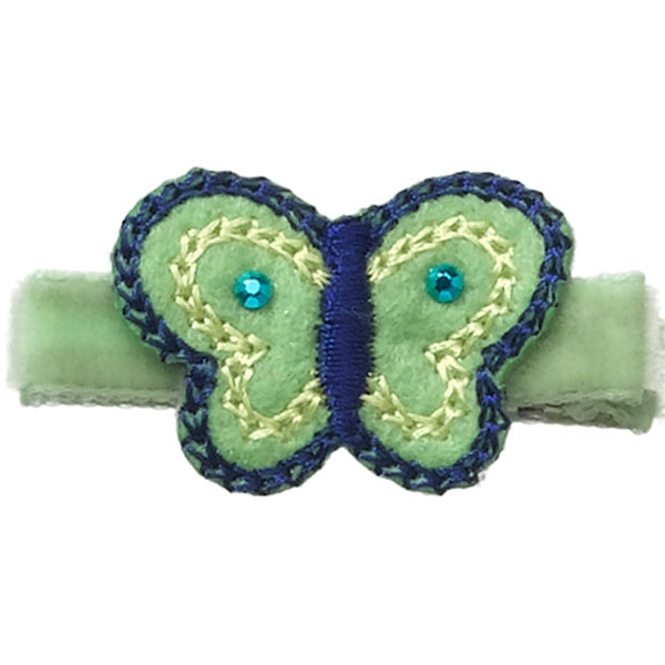 "No Slippy Hair Clippy - Tilly - Lime 1-1/2"" Butterfly Pinch Clip"