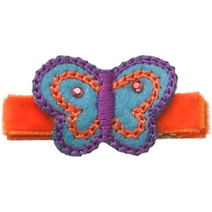 "No Slippy Hair Clippy - Tilly - Orange 1-1/2"" Butterfly Pinch Clip"