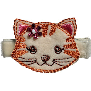 No Slippy Hair Clippy - Winnie Cream Cat Favorite Animal Faces Pinch Clip