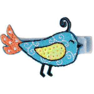 No Slippy Hair Clippy - Raven Sweet Baby Birds Pinch Clip - Light Blue
