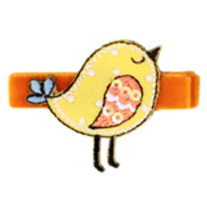 No Slippy Hair Clippy - Raven Sweet Baby Birds Pinch Clip - Orange
