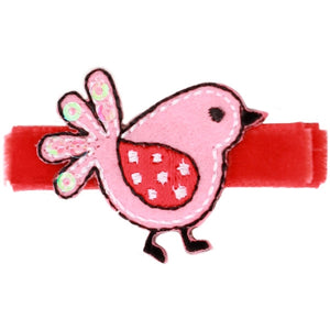 No Slippy Hair Clippy - Raven Sweet Baby Birds Pinch Clip - Red