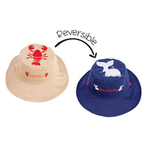 FlapJackKids - Reversible Sun Hat - Lobster/Whale