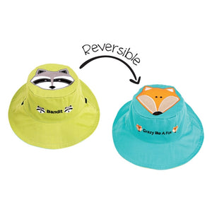 FlapJackKids - Reversible Sun Hat - Raccoon/Fox