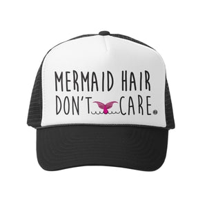 Grom Squad - Mermaid Hair / Dont Care Trucker Hat - Blk/Wht