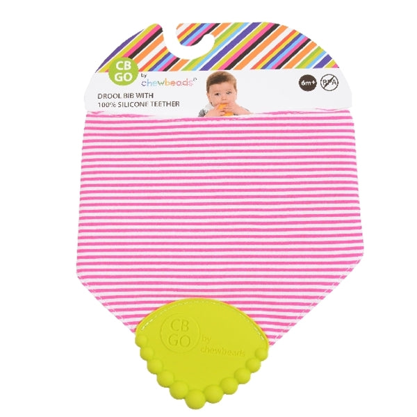 Chewbeads - Drool Bib - Fuchsia Stripes
