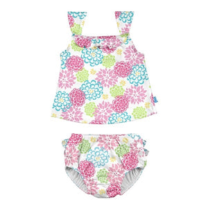 I Play - 2Pc Ruffle Tankini Swimsuit Swim Diaper-White Zinnia