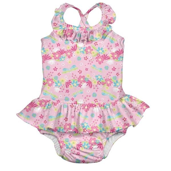I Play - 1 Pc Ruffle Swimsuit Swim Diaper - Light Pink Dragonfly Floral