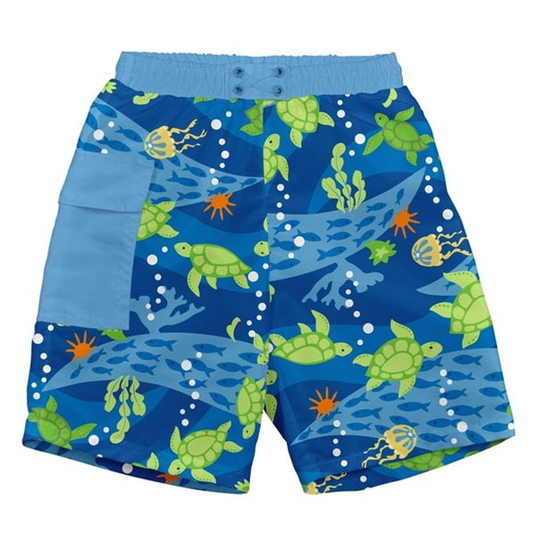 I Play - Pocket Trunks Swim Diaper - Royal Blue Turtle Journey