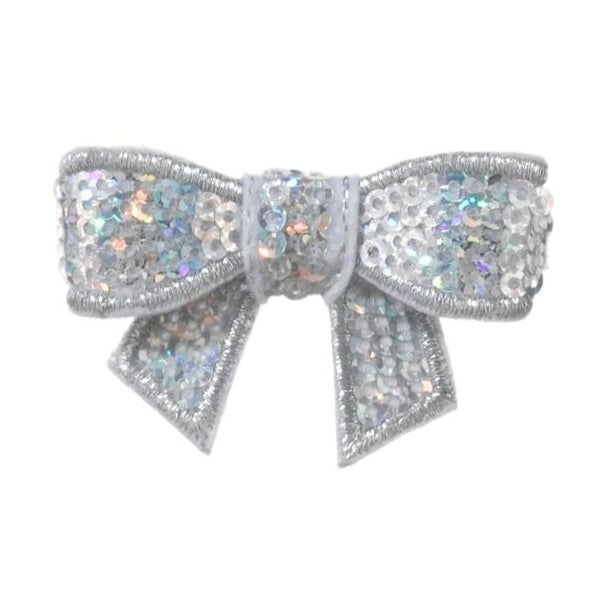 No Slippy Hair Clippy - Chloe Sparkle Baby Bow - Silver