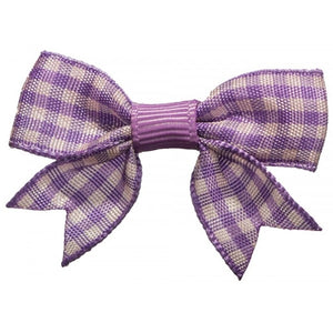 No Slippy Hair Clippy - Stella Checked Baby Bow - Lavender
