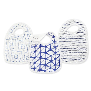 Aden and Anais - Silky Soft Snap Bibs 3-pack - Indigo Shibori