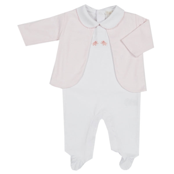 Kissy Kissy - Scattered Petite Pals Footie W/Collar and Jacket Set  - WH/PINK