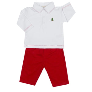 Kissy Kissy - Holiday Cheer  Pant Set W/Collar - Red