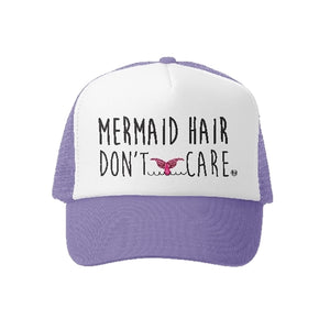 Grom Squad - Mermaid Hair Dont Care Trucker Hat - LAV/WHT