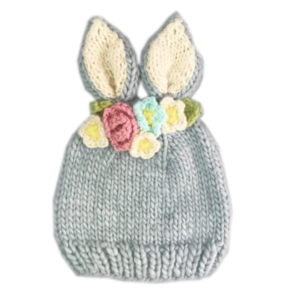 The Blueberry Hill Knit Hat - Bailey Bunny with Flowers