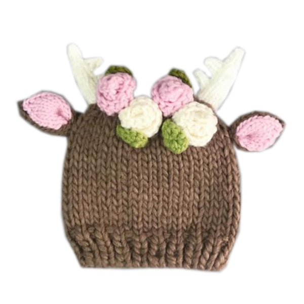 The Blueberry Hill Knit Hat - Hartley Deer with Flowers