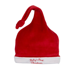 Kissy Kissy - Babys First Christmas Velour Stocking Hat - Red