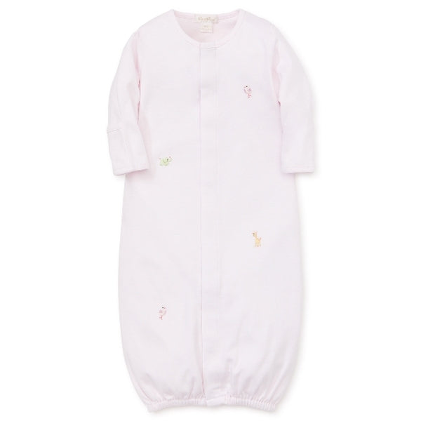 Kissy Kissy Premier - SCE Animal Crackers - Striped Coverter Gown w/embroidery - pink