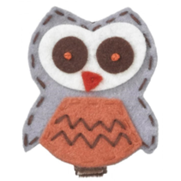 No Slippy Hair Clippy - Willow Handstitched Felt Owl - Brown