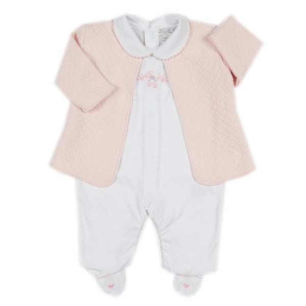 Kissy Kissy - First Ride  Footie W/Collar And Jacquard Jacket Set  - Wh./Pink