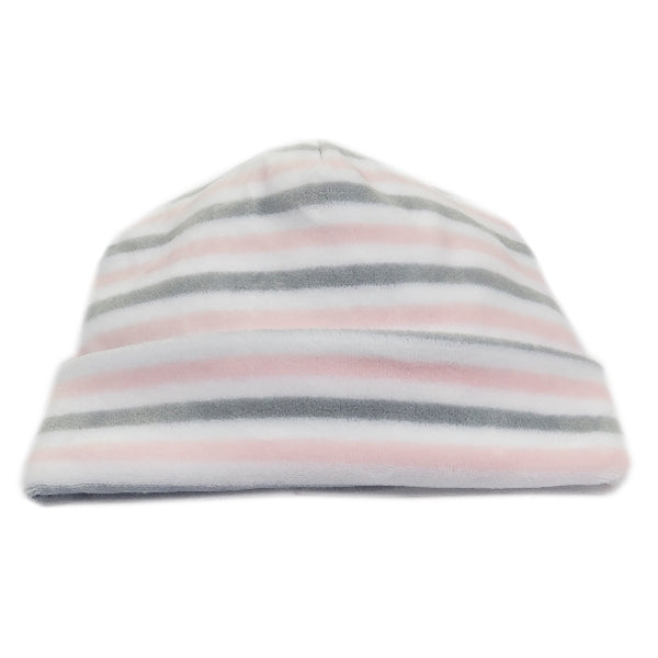 Kissy Kissy - Winter Mix  Velour Stripe Hat - Pink/Grey