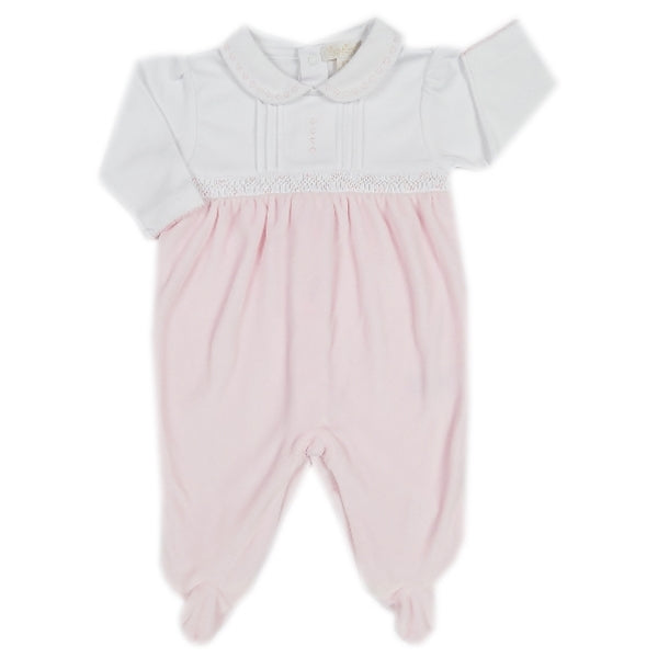 Kissy Kissy - Timeless  Velour Footie W/Collar - Pink
