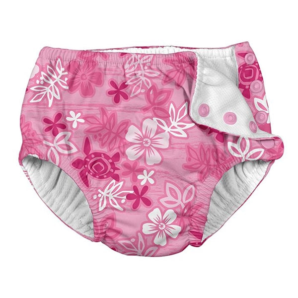 I Play - Swimsuit Diaper - Pink Hawaiian Turtle