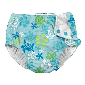 I Play - Swimsuit Diaper - Aqua Hawaiian Turtle