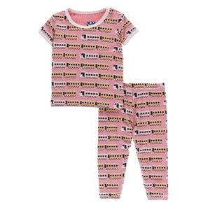 Kickee Pants - Print Short Sleeve Pajama Set - Desert Rose Indian Train