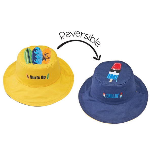 FlapJackKids - Reversible Sun Hat - Surfer/Cool Popsicle