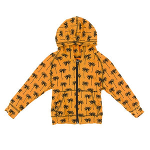 Kickee Pants - Lightweight Print Zip Front Hoodie in Apricot Palm Trees