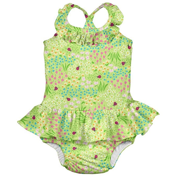 I Play - 1 Pc Ruffle Swimsuit  Swim Diaper - Green Flower Patch