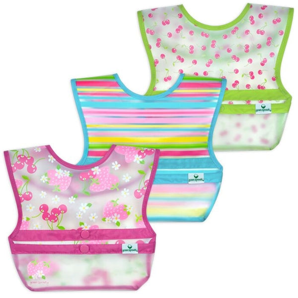 I Play - Snap and Go Wipe-off Bibs 3 pack - Pink Berries
