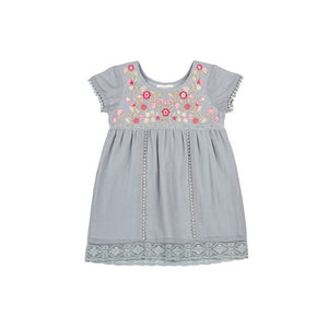 Mimi and Maggie - Ashlee Embroidered Cotton/Silk Dress