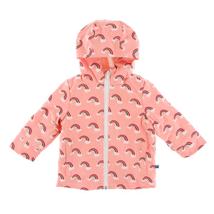 Kickee Pants - Print Sherpa Lined Raincoat - Blush Rainbow