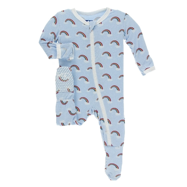 Kickee Pants - Print Footie With Zipper - Pond Rainbow