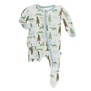 Kickee Pants - Print Footie With Zipper - Natural Woodland Holiday