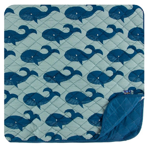 Kickee Pants - Print Quilted Toddler Blanket - Jade Whales/Twilight